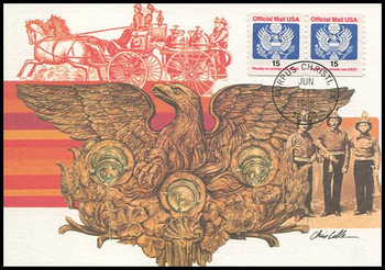 O138a / 15c Official Mail Eagle Coil Pair 1988 Fleetwood First Day of Issue Maximum Card