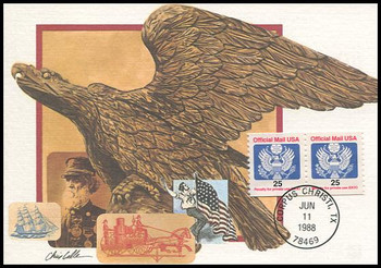 O141 / 25c Official Mail Eagle Coil Pair 1988 Fleetwood First Day of Issue Maximum Card
