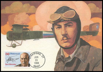 C119 / 36c Igor Sikorsky : Aviation Pioneers Series Airmail 1988 Fleetwood First Day of Issue Maximum Card