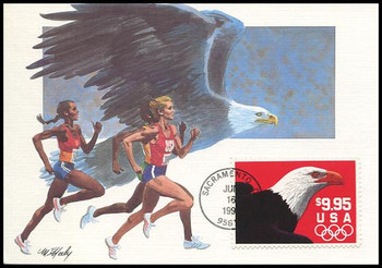 2541 / $9.95 Eagle and Olympic Rings Express Mail 1991 Fleetwood First Day of Issue Maximum Card
