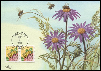 2281 / 25c Honeybee Coil Pair 1988 Fleetwood First Day of Issue Maximum Card