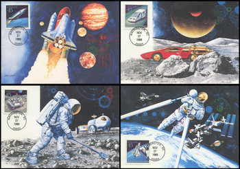 C122 - C125 / 45c Futuristic Mail Delivery Set of 4 Fleetwood 1989 First Day of Issue Maximum Card