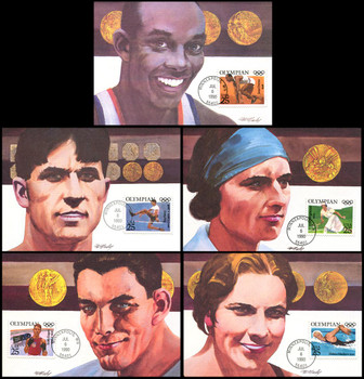 2496 - 2500 / 25c Olympians Set of 5 Fleetwood 1990 First Day of Issue Maximum Card