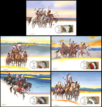 2501 - 2505 / 25c Indian Headdresses Set of 5 Fleetwood 1990 First Day of Issue Maximum Card