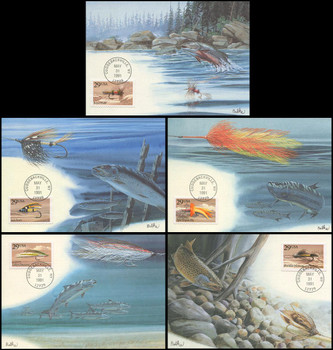 2545 - 2549 / 25c Fishing Flies Set of 5 Fleetwood 1991 First Day of Issue Maximum Card