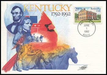 2636 / 29c Kentucky Statehood Bicentennial 1992 Fleetwood First Day of Issue Maximum Card