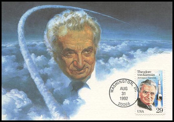 2699 / 29c Theodore Von Karman : Aerospace Scientist 1992 Fleetwood First Day of Issue Maximum Card