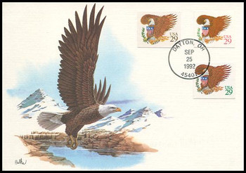 2595 - 2597 / 29c Eagle And Shield Self-Adhesive Combo 1992 Fleetwood First Day of Issue Maximum Card