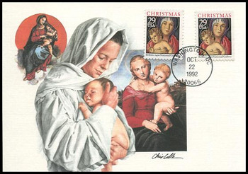 2710 - 2710a / 29c Madonna and Child Combo : Christmas Series 1992 Fleetwood First Day of Issue Maximum Card