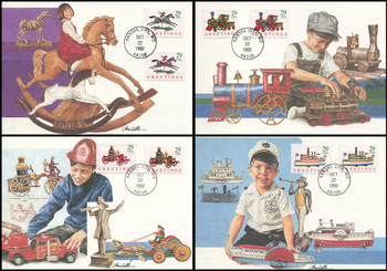 2711 - 2718 / 29c Classic Christmas Toys Combo : Christmas Series Set of 4 Fleetwood 1992 First Day of Issue Maximum Card