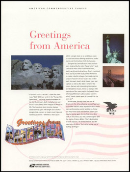 3696 - 3745  / 37c Greetings From America Sheet of 50 ( 2 Panel Set ) / 2002 USPS American Commemorative Panel Sealed #674