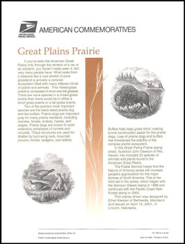 3506 / 34c Great Plains Prairie Sheet of 10 ( 2 Panel Set ) 2001 USPS American Commemorative Panel Sealed #626