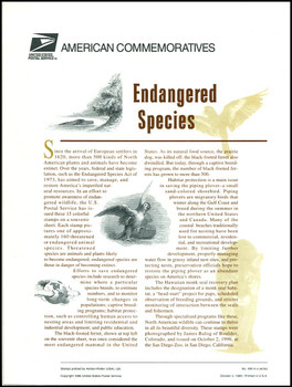 3105 / 32c Endangered Species Sheet of 15 ( 2 Panel Set ) 1996 USPS American Commemorative Panel Sealed #499