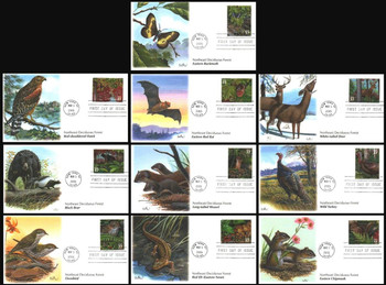 3899 a - j / 37c Northeast Deciduous Forest : Nature of America Series Set of 10 Fleetwood 2005 First Day Covers