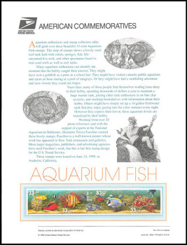 3317 / 3320 / 33c Aquarium Fish 1999 USPS American Commemorative Panel Sealed #574