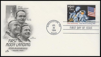 2842 / $9.95 First Moon Landing 25th Anniversary Express Mail 1994 Artcraft FDC