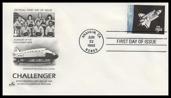 2544 / $3 Challenger Shuttle in Orbit Priority Mail 1995 Artcraft FDC