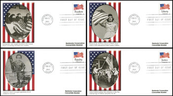 4645 - 4648 / 45c Four Flags : Banknote Corp. Covertible Bklt Set of 4 Fleetwood 2012 FDCs