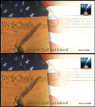 4496 / 44c Patriotic Quill and Inkwell Coil Singles Set of 2 Fleetwood 2011 FDCs