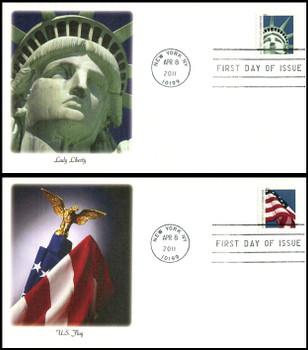 4518 - 4519 / 44c Lady Liberty and Flag ATM Pane Set of 2 Fleetwood 2011 FDCs