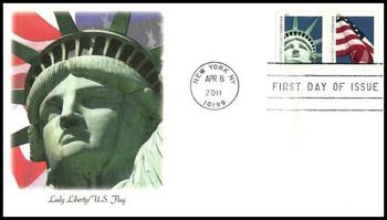 4519a / 44c Lady Liberty and U.S. Flag ATM Pane Se-Tenant Pair 2011 Fleetwood FDC