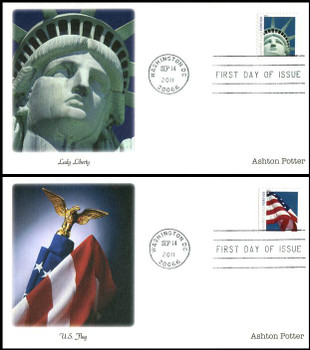 4559 - 4560 / 44c Lady Liberty and Flag Booklet Singles Set of 2 Fleetwood 2011 FDCs