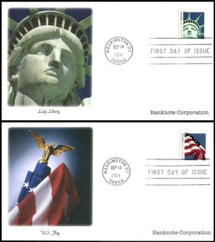 4561 - 4562 / 44c Lady Liberty and Flag SSP Booklet Singles Set of 2 Fleetwood 2011 FDCs