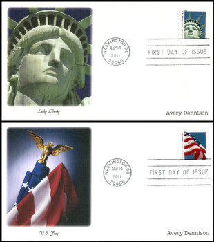 4563 - 4564 / 44c Lady Liberty and Flag AVR Booklet Set of 2 Fleetwood 2011 FDCs