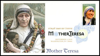 4475 / 44c Mother Teresa Digital Color Postmark Fleetwood 2010 First Day Cover