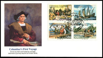 1877 - 1880 / 500 Lire First Voyage of Christopher Columbus Se-Tenant Block of 4 Italian Issue Fleetwood 1992 FDCs