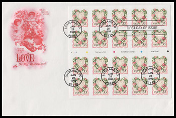 3274a / 33c Victorian Love : Love Stamp Series Booklet Pane of 20 Artcraft 1999 First Day Cover
