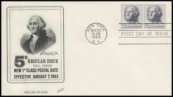 1229 / 5c George Washington Coil Pair Fleetwood 1962 First Day Cover