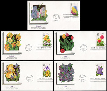 2760 - 2764 / 29c Spring Garden Flowers Set of 5 Fleetwood 1993 FDCs