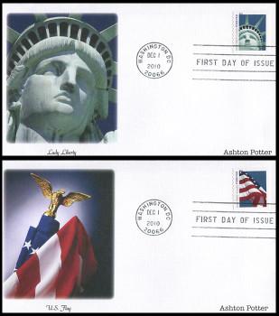4486 - 4487 / 44c Lady Liberty and Flag Ashton Potter (APU) Set of 2 Fleetwood 2010 FDCs