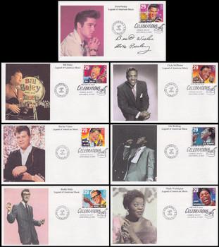 2724 - 2730 / 29c Rock & Roll / Rhythm & Blues Musicians Sheet Issue Set of 7 Mystic 1993 FDCs