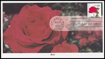 2490 / 29c Red Rose Self Adhesive 1993 Mystic FDC