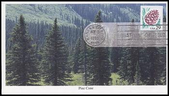 2491 / 29c Pine Cone Self Adhesive 1993 Mystic FDC