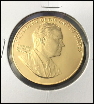 Richard Nixon U.S. Mint Bronze Presidential Medal Electroplated with 24kt Gold #1