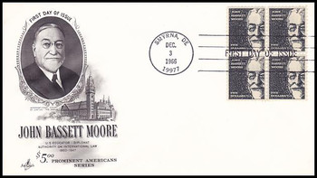 1295 / $5 John Bassett Moore Block of 4 Artcraft 1966 First Day Cover