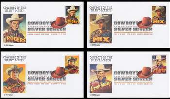 4446 - 4449 / 44c Cowboys of the Silver Screen Set of 4 Digital Color Postmark ( DCP )FDCO Exclusive 2010 FDCs
