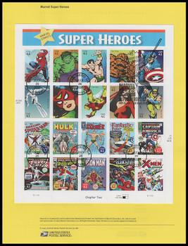 4159 / 41c Marvel Comics : Super Heroes Pane of 20 : 2007 USPS Souvenir Page #0728