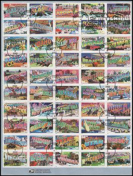 3561 - 3610 / 34c Greetings From America Sheet of 50 : 2002 USPS #0207 Souvenir Page
