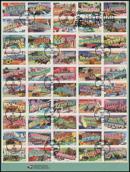 3696 - 3745 / 37c Greetings From America Sheet of 50 : 2002 USPS #0242 Souvenir Page