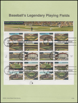 3510 - 3519 / 34c Legendary Baseball Playing Fields Pane of 10 : 2011 USPS #0132 Souvenir Page
