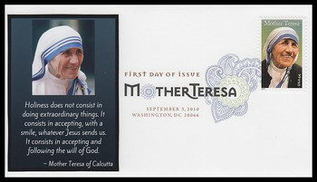 4475 / 44c Mother Teresa Digital Color Postmark FDCO Exclusive 2010 FDC