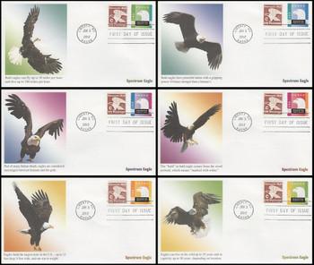 4585 - 4590 / 25c Spectrum Eagle Set of 6 Fleetwood 2012 FDCs