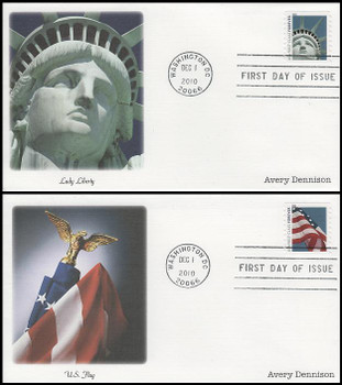 4490 - 4491 / 44c Lady Liberty and Flag Avery Dennison (AVR) Set of 2 Fleetwood 2010 FDCs
