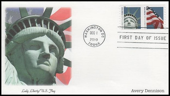 4491a / 44c Lady Liberty and Flag Coil Pair Avery Dennison (AVR) Fleetwood 2010 FDC