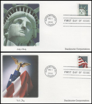 4488 - 4489 / 44c Lady Liberty and Flag Banknote Corp. (SSP) Set of 2 Fleetwood 2010 FDCs