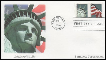 4489a / 44c Lady Liberty and Flag Coil Pair Banknote Corp. (SSP) Fleetwood 2010 FDC